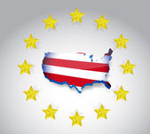 Stars and us flag map illustration design over — 图库照片