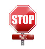 Stop waste street sign illustration design — Stock Photo