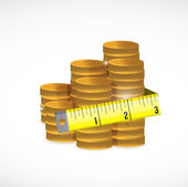 Gold coins and measure tape illustration design — Stock Photo