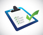 Selección de lista de verificación en un portapapeles. ilustración — Foto de Stock
