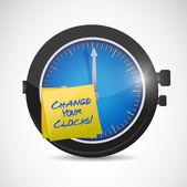 Mudar seus relógios assinar ilustração do projeto — Foto Stock