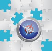 Puzzle pieces and compass illustration — Stock Photo