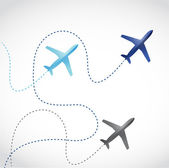 Fly routes and airplanes. illustration design — Stock Photo