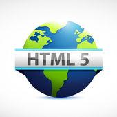 Html 5 globe sign illustration design — Stock Photo