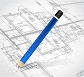 Drawing pencil and blueprints. illustration design — Stock Photo