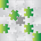 Green and grey puzzle pieces illustration — Stock Photo