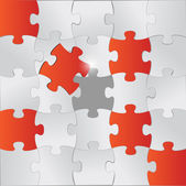 Red and grey puzzle pieces illustration design — Stock Photo