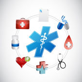Medical icons network connection illustration — Stock Photo