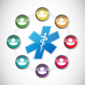 Medical diversity people network illustration — Stock Photo