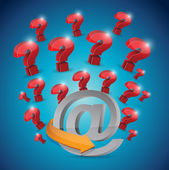 Questions marks around a at symbol. illustration — Stock Photo