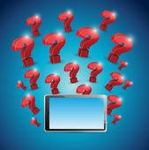 Question marks around tablet. illustration design — Stock Photo
