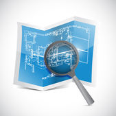 Blueprint and magnify illustration design — Stock Photo