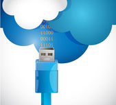 Receiving information from the cloud. illustration — Stock Photo