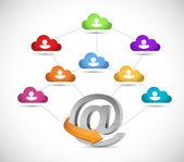 Cloud avatar online connection illustration — Stock Photo