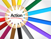 Action sign around pencil colors illustration — Stock Photo