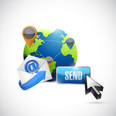 Email contact us communication and send button. — Stock Photo
