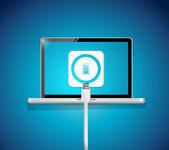 Laptop battery recharge illustration design — Stock Photo