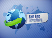 Real time advertising globe sign illustration — Stock Photo