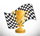 Checker flag and trophy illustration design — Stock Photo