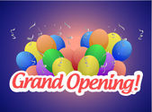 Grand opening sign and balloons illustration — Stock Photo