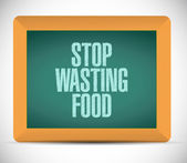 Stop wasting food message on a board. illustration — Stock Photo