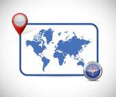World map location destination illustration — Foto de Stock