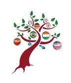 International flag tree illustration design — ストック写真