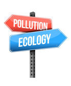 Pollution ecology street sign illustration — Stock Photo