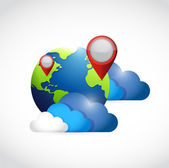 Globe clouds and locator pointers illustration — Stock Photo
