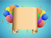 Scroll and balloons illustration design — Stock Photo
