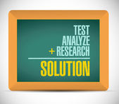 Test, analyze, research, and solutions messages — Stock Photo