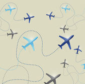 Set of airplane routes illustration — Stock Photo