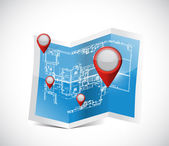 Locator pointers blueprint illustration design — Stock Photo