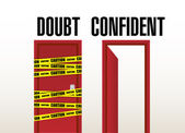 Doubt and confident doors illustration — Stock Photo