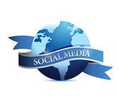 Social media ribbon globe illustration design — Stock Photo