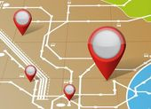 Map and locator pointers illustration — Stock Photo