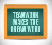 Teamwork makes the dream work message — Stok fotoğraf
