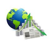 International economy news illustration design — Stock Photo