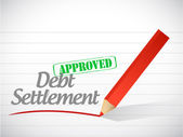 Approved debt settlement message illustration — Stock Photo
