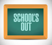 Schools out blackboard illustration design — Stock Photo