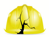 Broken yellow construction helmet illustration — Stock Photo