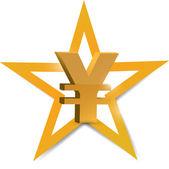 Gold yen symbol illustration design — Photo