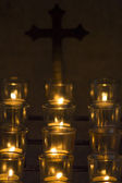 Prayer Candles with Religious Cross — Stock Photo