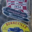 Foto de Stock  : Official Salt Flats Racing Association stickers promoting 1954 and 1949 World of Speed