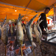 Fish-on-stick stall at New Years in Tokyo — Stock Photo