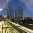 Tokyo trainyard and skyline — Stock Photo