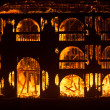 House burning down at night, Burning Man Festival 2012 — Stock fotografie