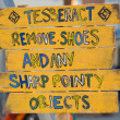 Yellow wood sign to remove shoes — Stockfoto
