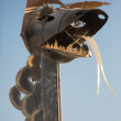 Sculpture dragon head and tongue — Stock Photo