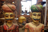 Wood sculptures in a local artisanal shop, India. — Stock Photo